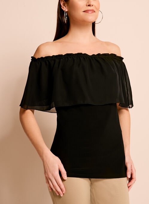 Off The Shoulder Ruffle Trim Blouse, Black, hi-res