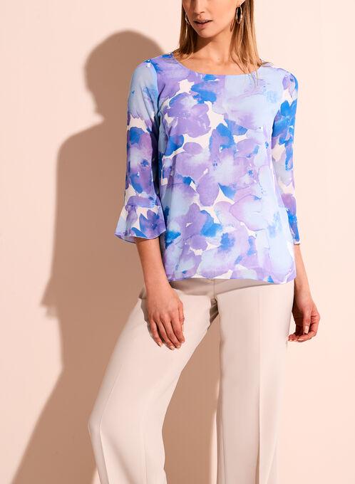 3/4 Sleeve Watercolour Floral Print Blouse, Purple, hi-res