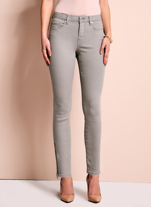 Zipper Trim Slim Leg Jeans, Grey, hi-res