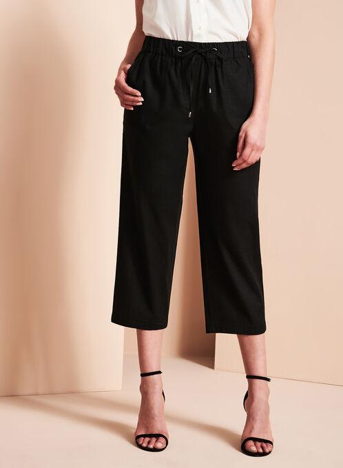 Straight Leg Linen Capris, Black, hi-res
