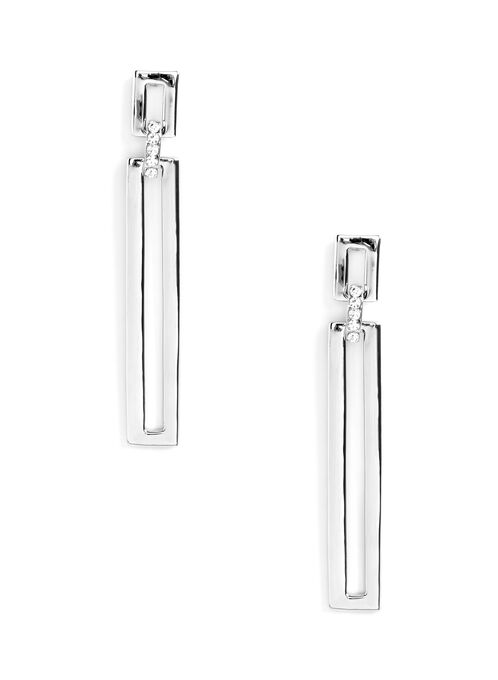 Open Rectangle & Crystal Earrings , Silver, hi-res