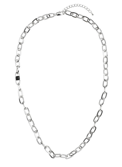 Oval Chain Link Long Necklace, Black, hi-res