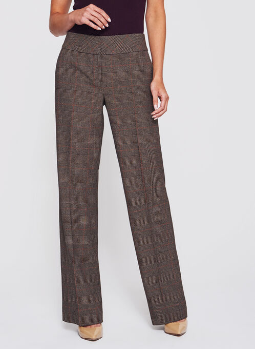 Glen Check Print Wide Leg Pants, Black, hi-res