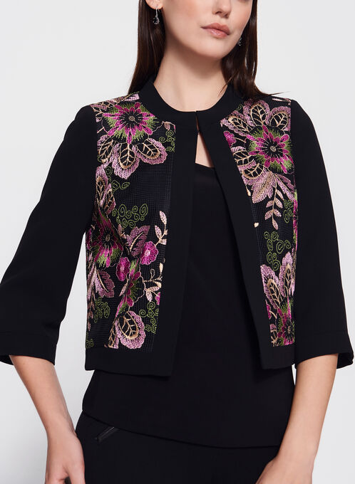 Tahari  - Floral Embroidered Cropped Blazer, Black, hi-res