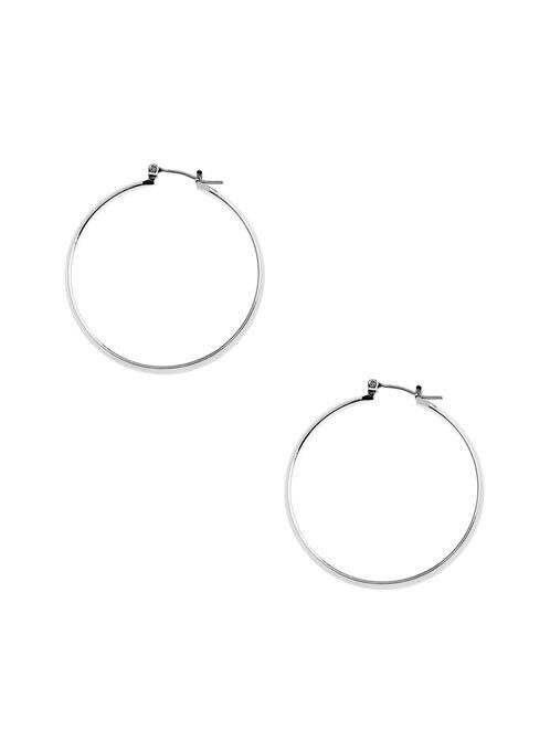 Thick Hoop Earrings , Silver, hi-res