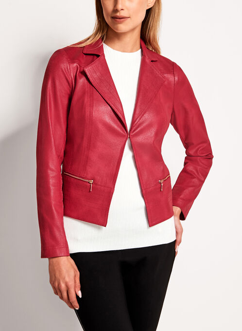 Vex - Metallic Trim Faux Suede Jacket, Red, hi-res