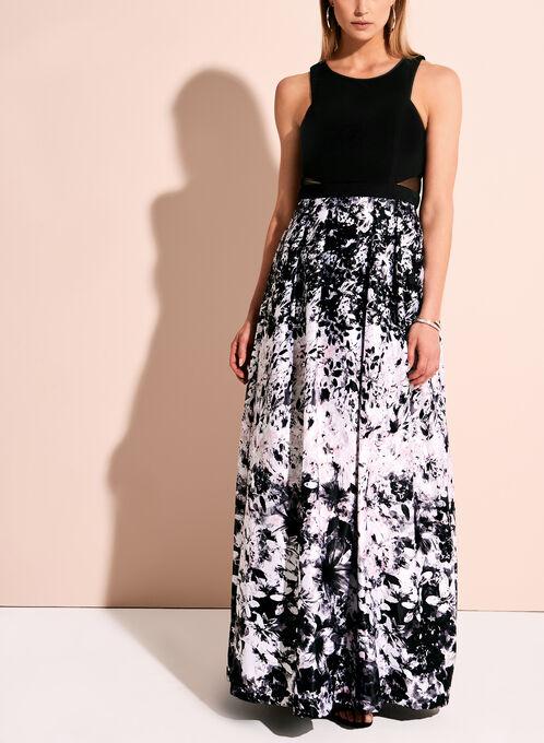 Floral Print Mesh Detail Ball Gown, Multi, hi-res