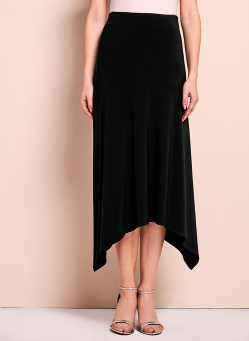Shark Bite Hem Maxi Skirt, Black, hi-res