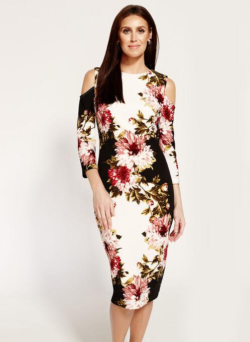 Jax Cold Shoulder Floral Print Dress, Multi, hi-res