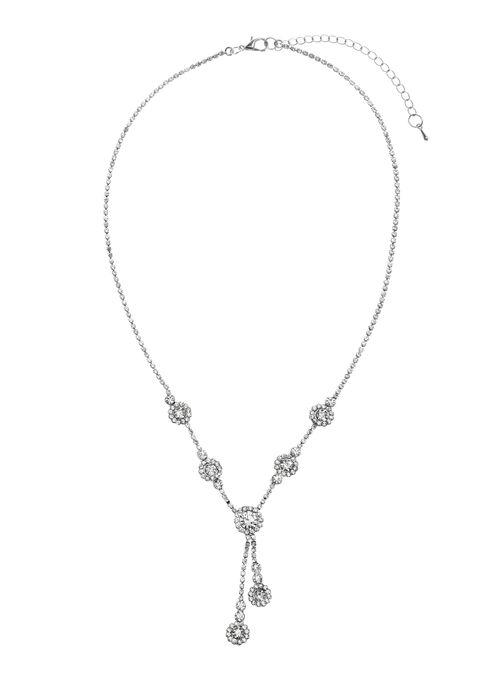 Crystal Pendant Necklace, Silver, hi-res