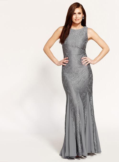 Floral Lace Mermaid Dress, Grey, hi-res