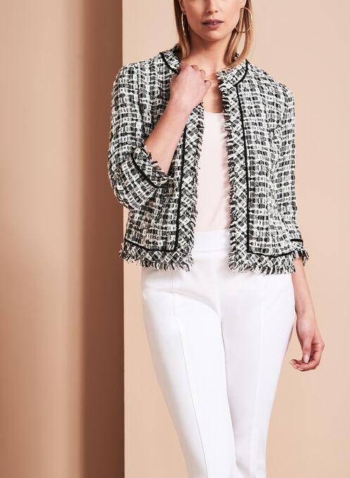 Contrast Tweed Boucle Jacket, Black, hi-res