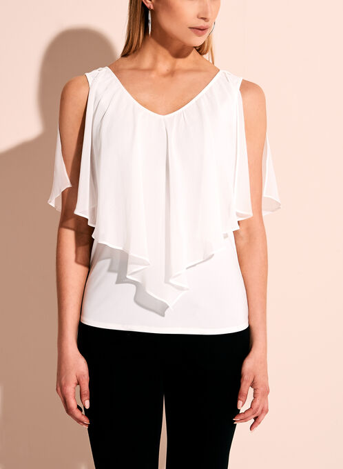 Sleeveless Ruffle Overlay Blouse, Off White, hi-res