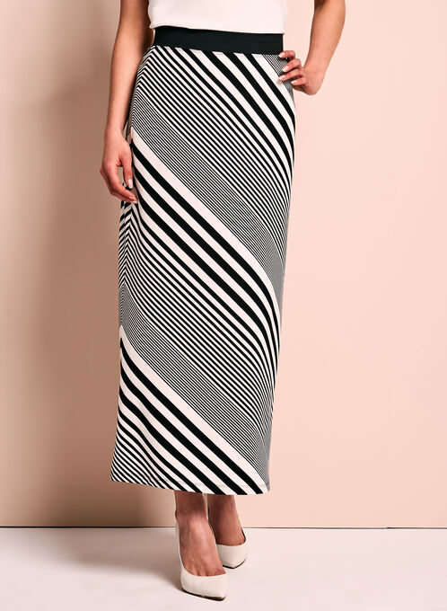 Graphic Stripe Print Maxi Skirt, Black, hi-res