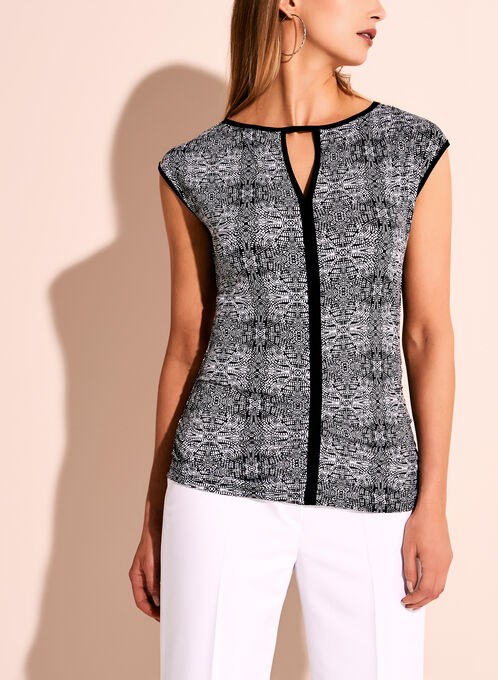 Sleeveless Graphic Print Keyhole Top, Black, hi-res