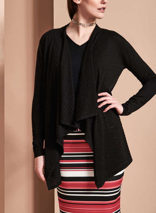 Open Front Cascade Cardigan, Black, hi-res