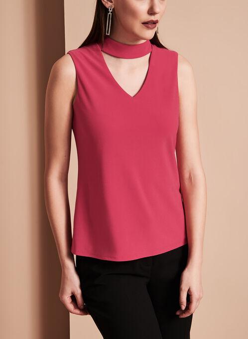 Sleeveless Choker Top, Pink, hi-res