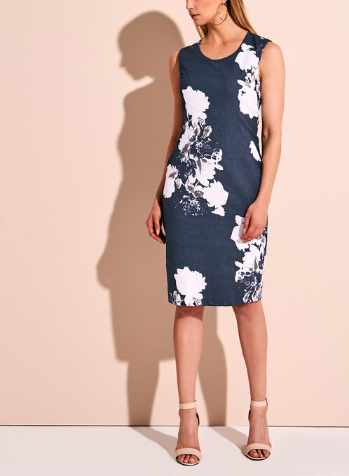 Linea Domani Floral Print Sheath Dress, Blue, hi-res