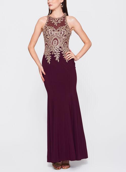 Embellished Appliqué Jersey Gown, Red, hi-res