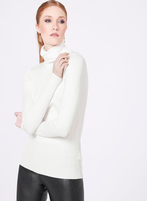 Long Sleeve Turtleneck Sweater, Off White, hi-res
