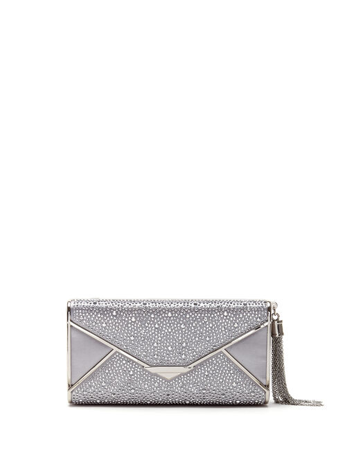 Crystal Envelope Box Clutch, Silver, hi-res