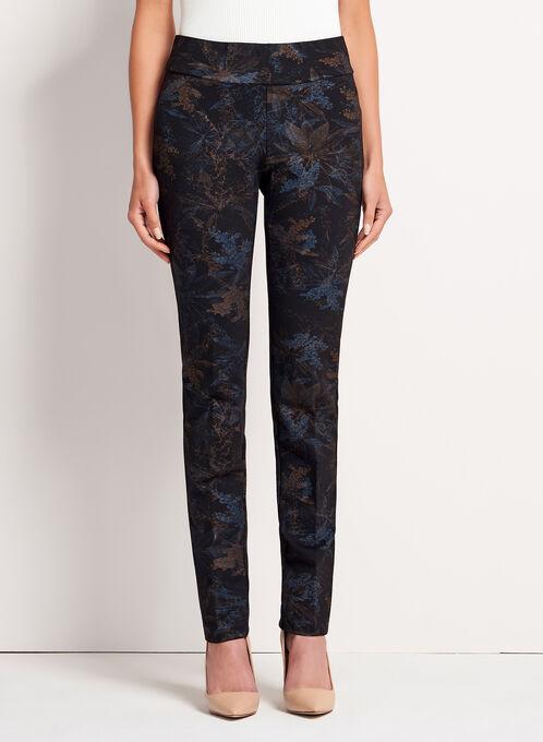 Pull-On Straight Leg Leaf Print Pants, Blue, hi-res