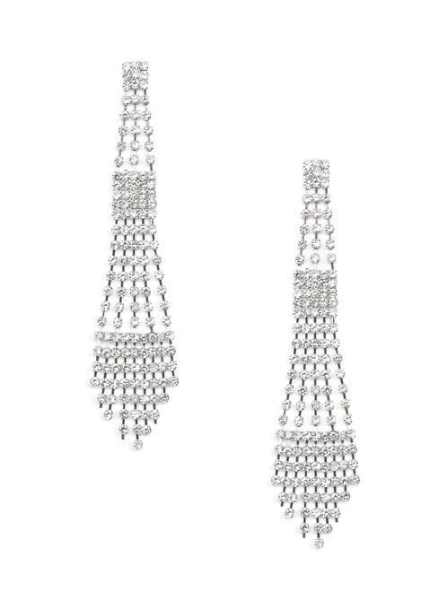 Crystal Chandelier Earrings, Silver, hi-res