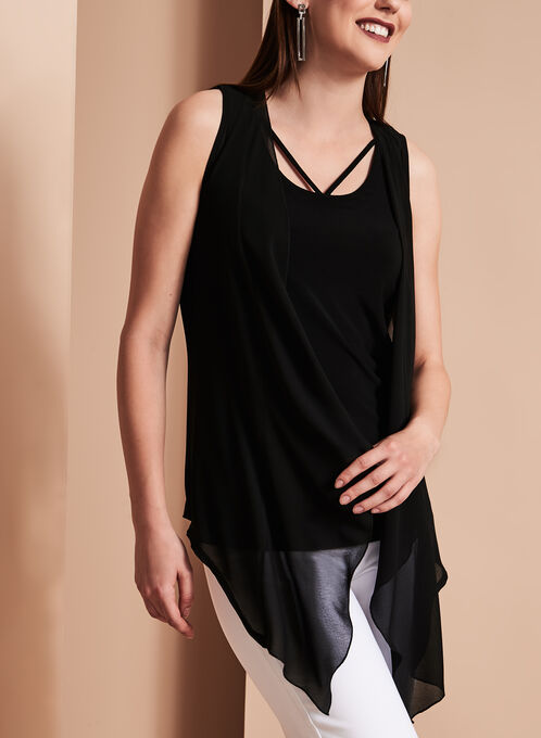 Sleeveless Cutout Camisole with Sheer Cascade Vest, Black, hi-res