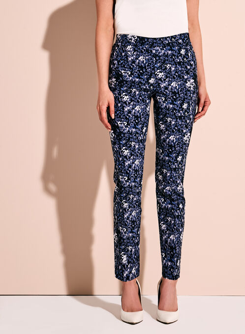 Abstract Print Tummy Control 7/8 Pants, Blue, hi-res