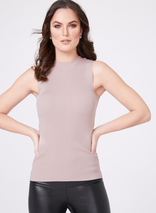 Sleeveless Mock Turtleneck Sweater, Off White, hi-res