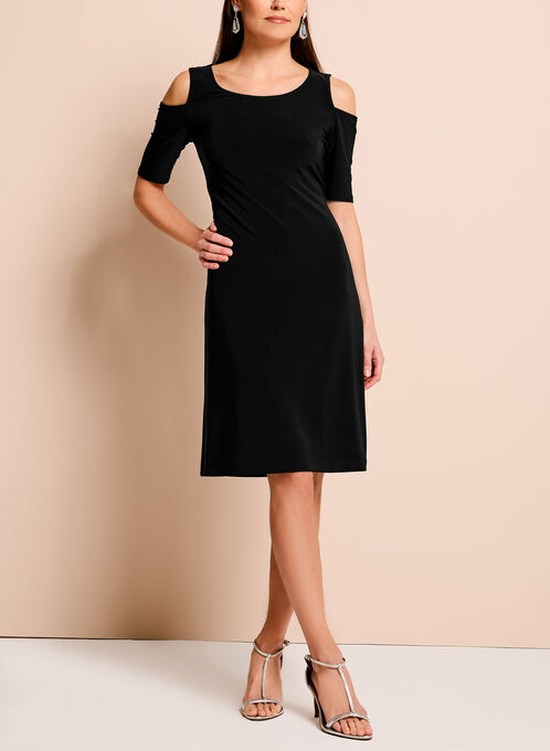 Cold Shoulder Shift Dress, Black, hi-res