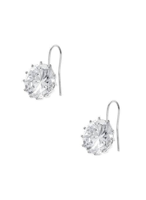 Crystal Stud Dangle Earrings , Silver, hi-res
