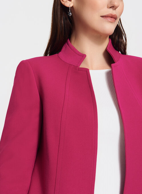 Tahari - Long Open Front Reverse Collar Jacket, Pink, hi-res