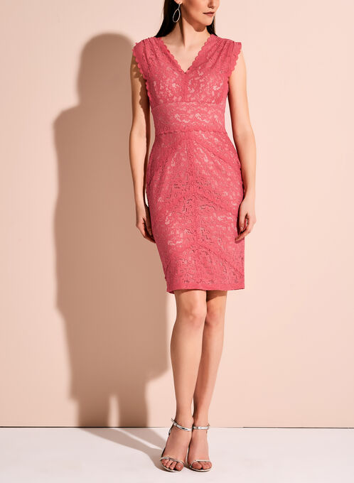 Ivanka Trump Contrast Lace Dress, Orange, hi-res