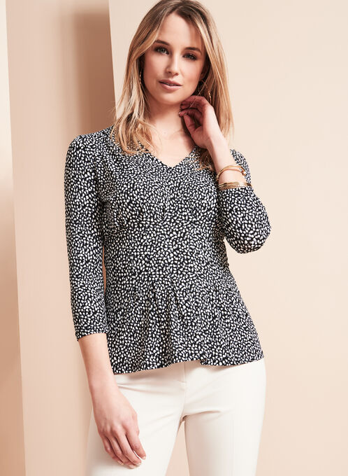 3/4 Sleeve Print Top, Black, hi-res