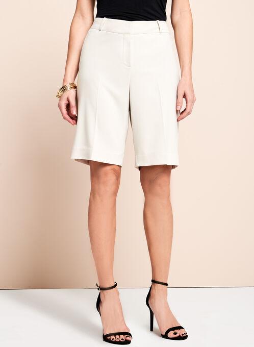 Solid Crepe Bermuda Shorts, Grey, hi-res