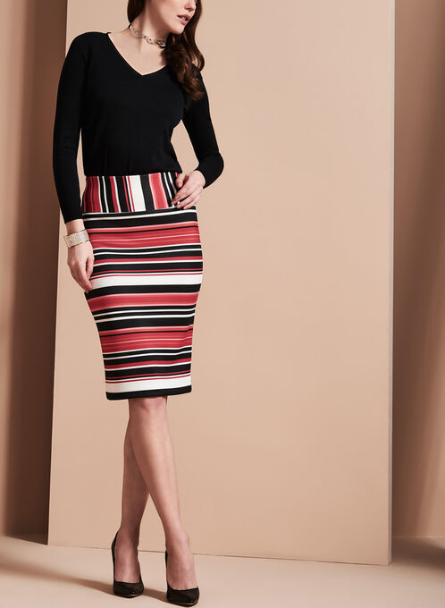 Stripe Print Pencil Skirt , Red, hi-res