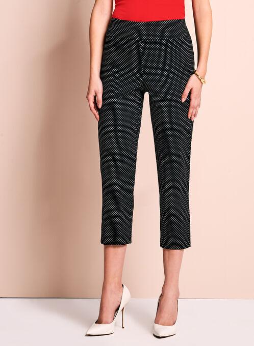 Dot Print Capri Pants, Black, hi-res