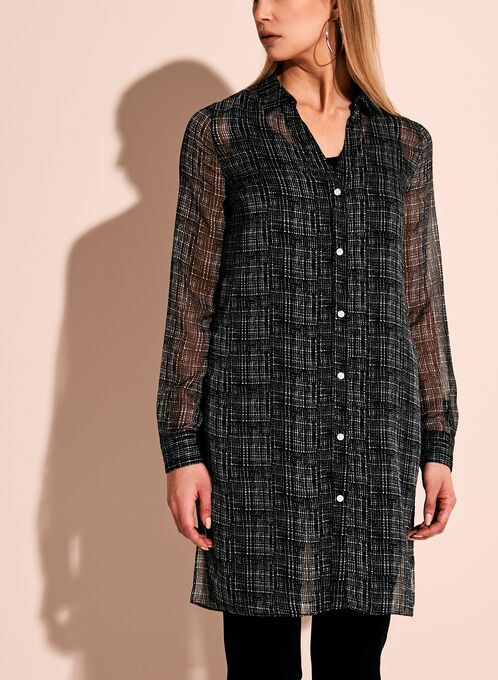 Graphic Print Sheer Button Down Tunic, Black, hi-res