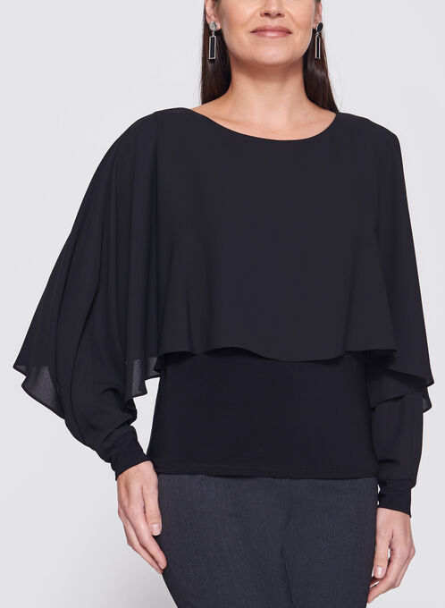 Long Sleeve Double Layer Poncho Top, Black, hi-res