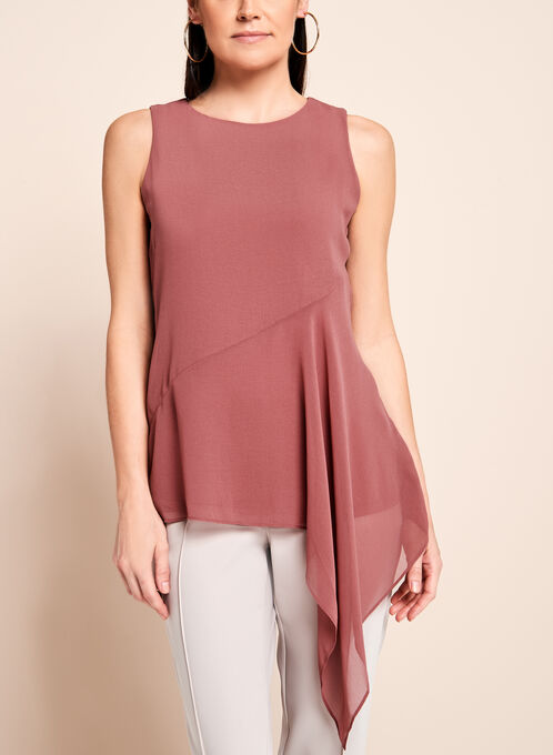 Sleeveless Asymmetric Cascade Blouse, Pink, hi-res