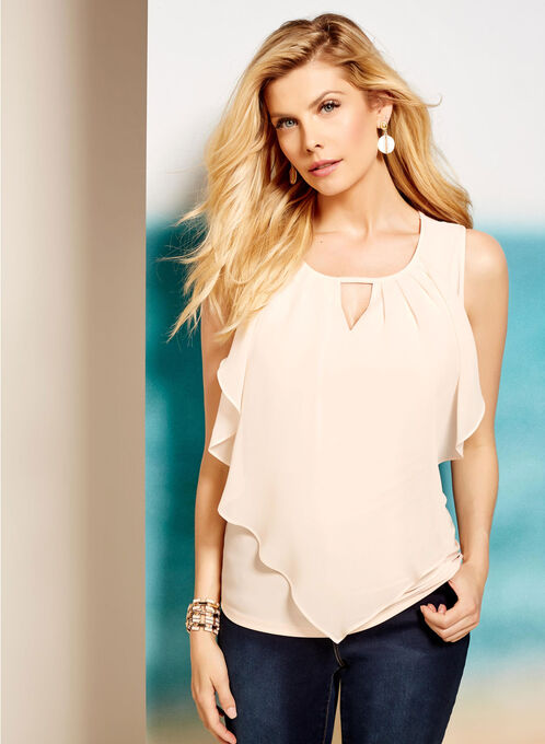 Sleevless Ruffle Front Keyhole Top, Multi, hi-res