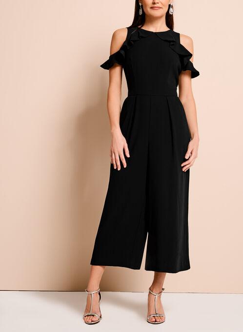 Ruffle Trim Cold Shoulder Jumpsuit, Black, hi-res