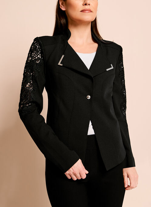 Crepe Lace Trim One-Button Blazer, Black, hi-res