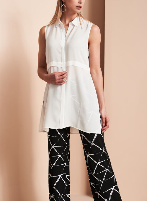 Lily Moss Button Down Tunic, Off White, hi-res