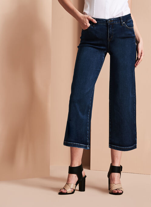 Wide Leg Denim Culottes, Blue, hi-res
