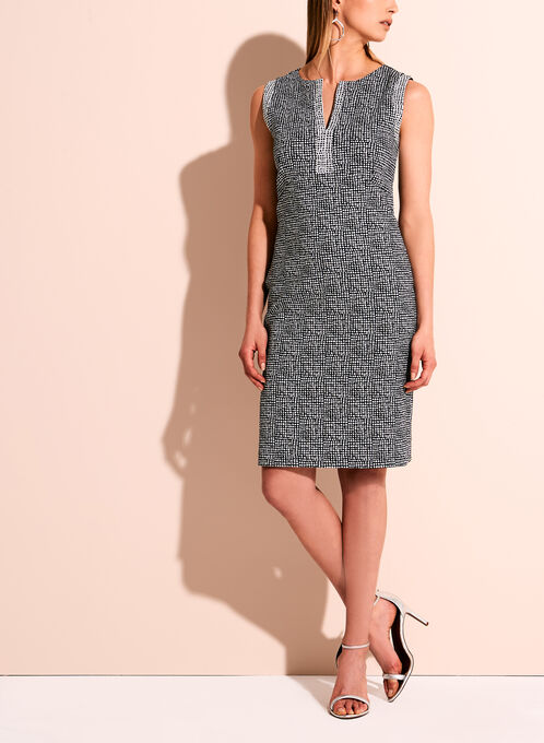 Sleeveless Jacquard Geometric Print Dress, Black, hi-res
