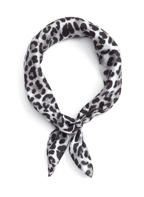 Leopard Print Silk Neckerchief, Black, hi-res