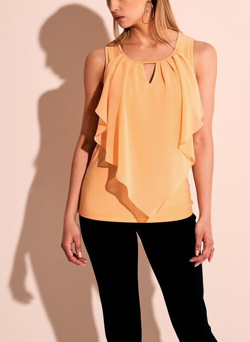 Sleevless Ruffle Front Keyhole Top, Orange, hi-res
