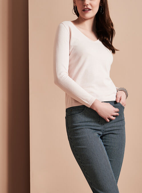Long Sleeve V-Neck Sweater, Off White, hi-res